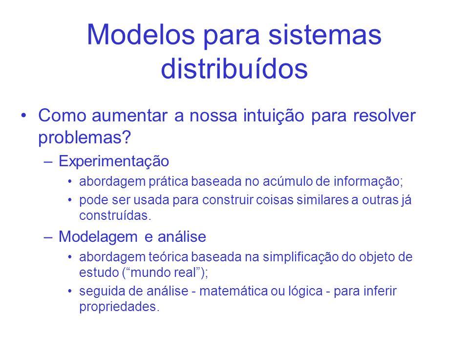 Modelos para sistemas distribuídos Como aumentar a nossa intuição para resolver problemas.