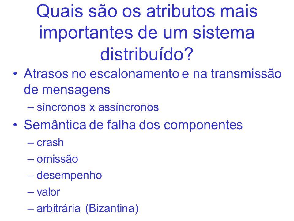 Quais são os atributos mais importantes de um sistema distribuído? Atrasos no escalonamento e na transmissão de mensagens –síncronos x assíncronos Sem