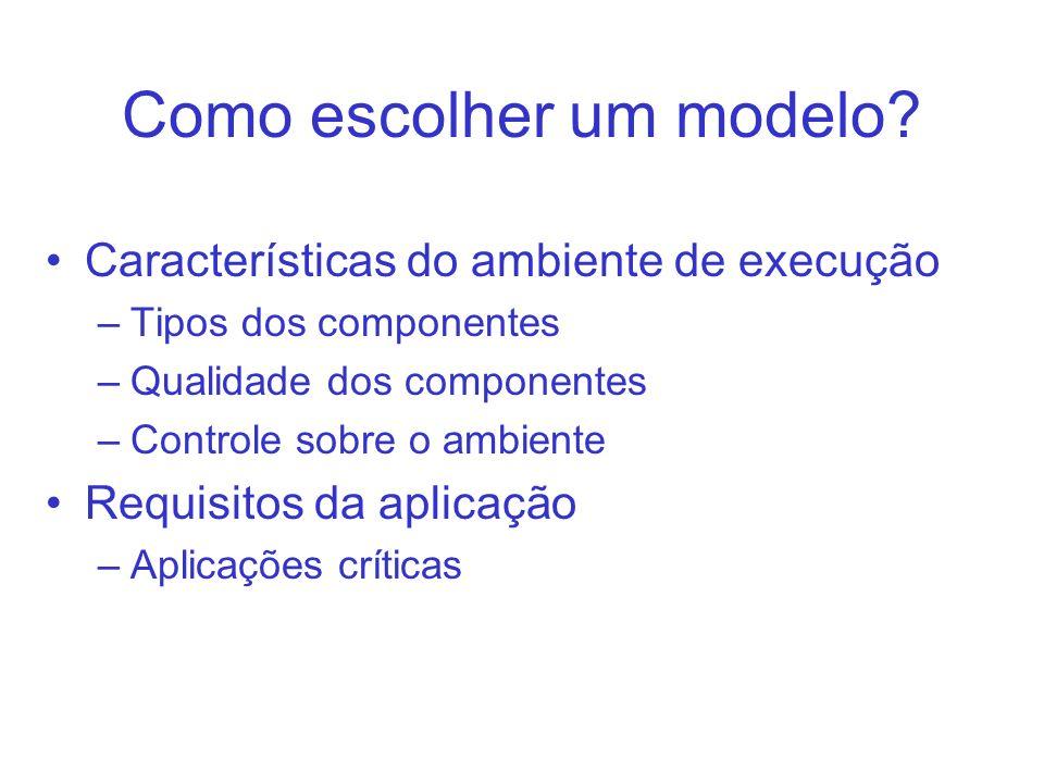 Como escolher um modelo? Características do ambiente de execução –Tipos dos componentes –Qualidade dos componentes –Controle sobre o ambiente Requisit