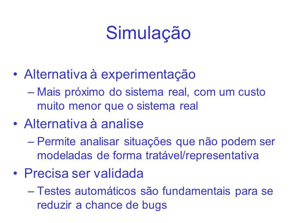 Simulação Alternativa à experimentação –Mais próximo do sistema real, com um custo muito menor que o sistema real Alternativa à analise –Permite anali