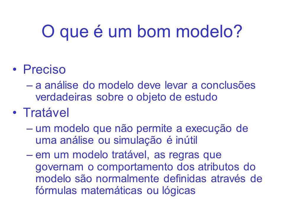 O que é um bom modelo? Preciso –a análise do modelo deve levar a conclusões verdadeiras sobre o objeto de estudo Tratável –um modelo que não permite a