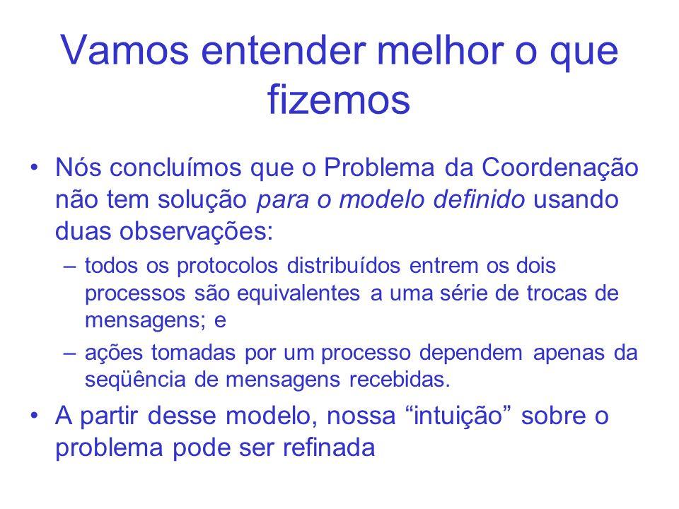 Vamos entender melhor o que fizemos Nós concluímos que o Problema da Coordenação não tem solução para o modelo definido usando duas observações: –todo