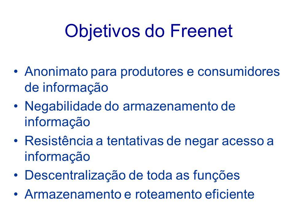 Objetivos do Freenet Anonimato para produtores e consumidores de informação Negabilidade do armazenamento de informação Resistência a tentativas de ne