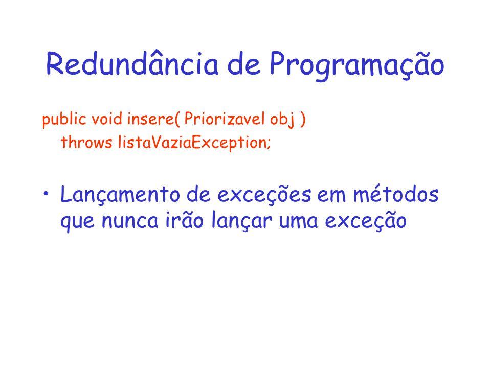 Redundância de Programação public void insere( Priorizavel obj ) throws listaVaziaException; Lançamento de exceções em métodos que nunca irão lançar uma exceção
