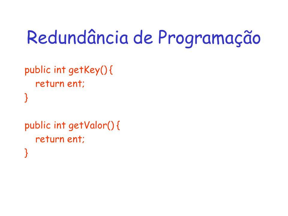 Redundância de Programação public int getKey() { return ent; } public int getValor() { return ent; }