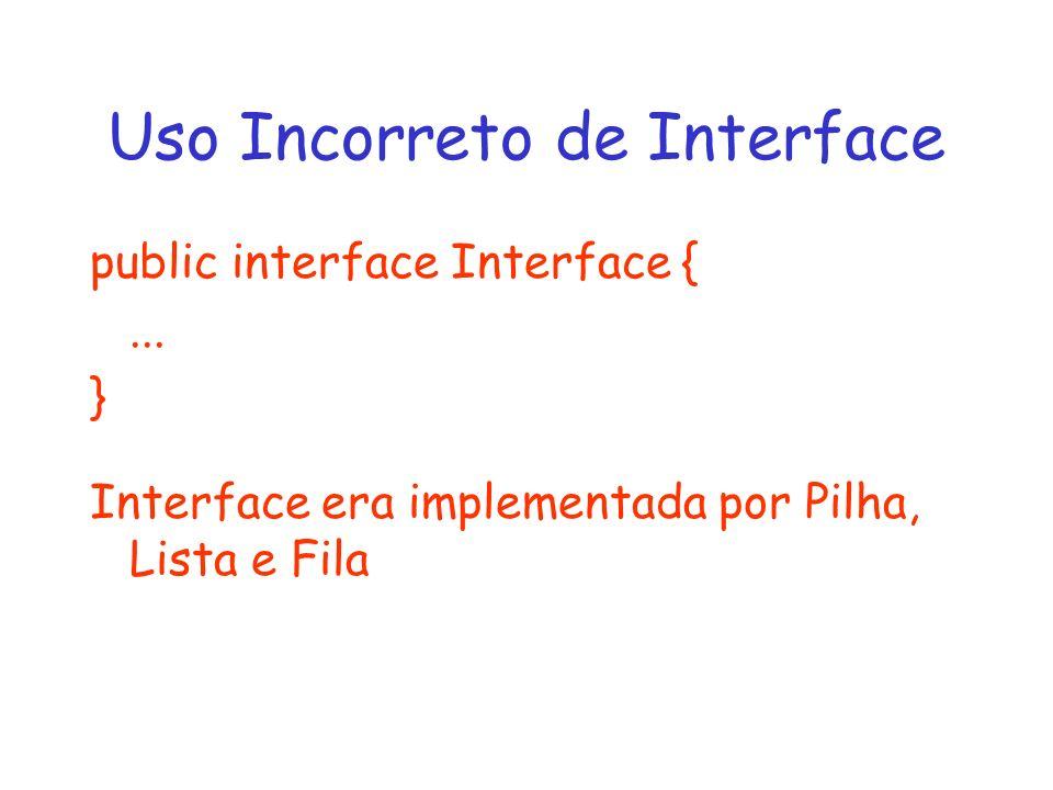 Uso Incorreto de Interface public interface Interface {... } Interface era implementada por Pilha, Lista e Fila
