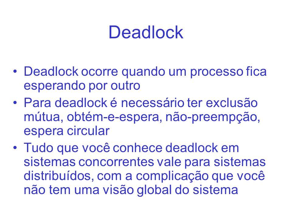 Deadlock Deadlock ocorre quando um processo fica esperando por outro Para deadlock é necessário ter exclusão mútua, obtém-e-espera, não-preempção, esp