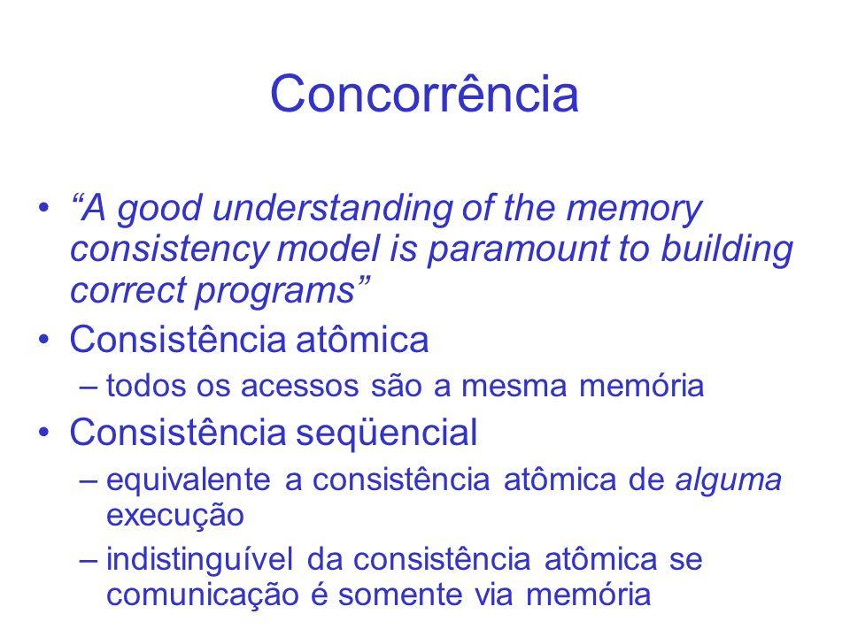 Concorrência A good understanding of the memory consistency model is paramount to building correct programs Consistência atômica –todos os acessos são