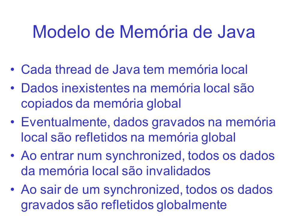 Modelo de Memória de Java Cada thread de Java tem memória local Dados inexistentes na memória local são copiados da memória global Eventualmente, dado