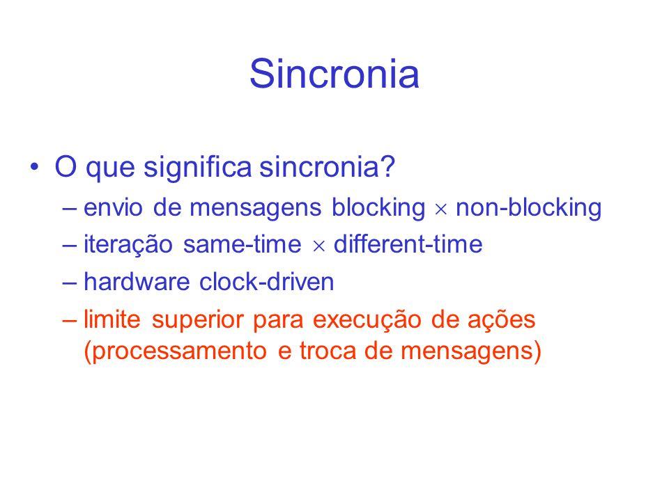 Sincronia O que significa sincronia? –envio de mensagens blocking non-blocking –iteração same-time different-time –hardware clock-driven –limite super