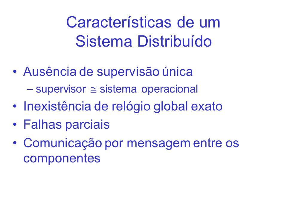 Características de um Sistema Distribuído Ausência de supervisão única –supervisor sistema operacional Inexistência de relógio global exato Falhas par