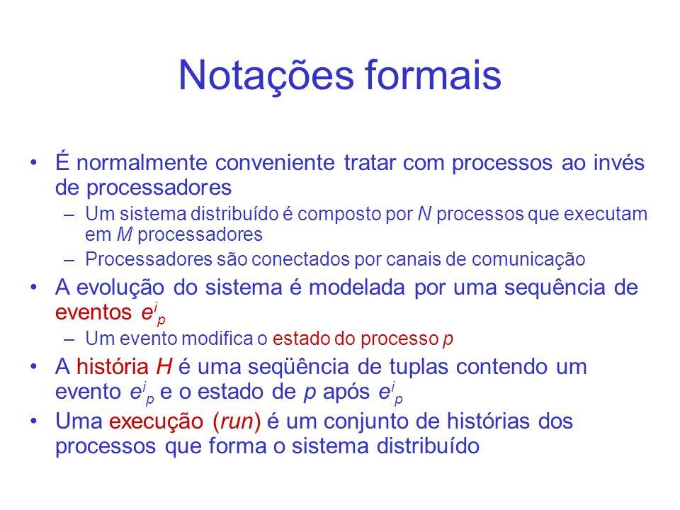 Notações formais É normalmente conveniente tratar com processos ao invés de processadores –Um sistema distribuído é composto por N processos que execu