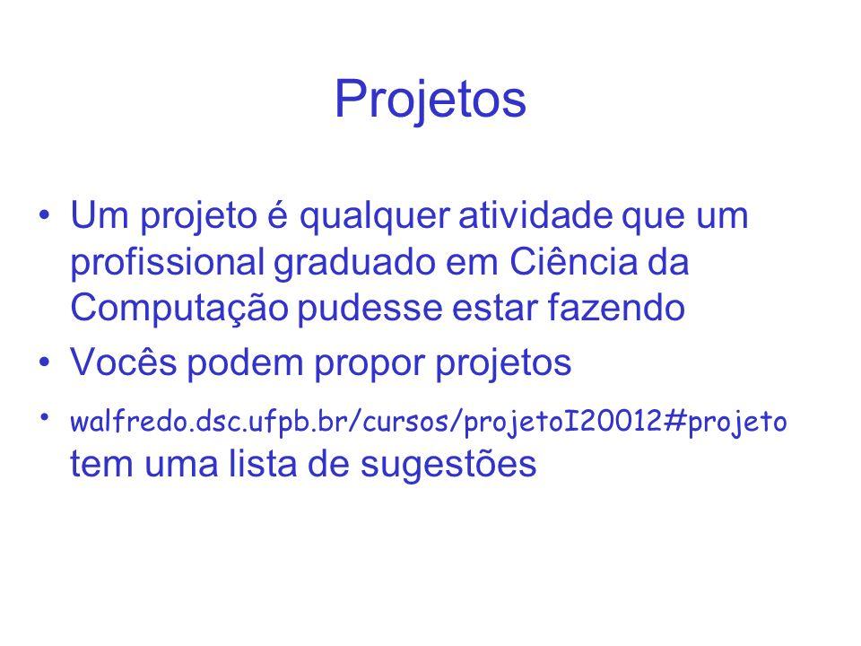 Projetos Um projeto é qualquer atividade que um profissional graduado em Ciência da Computação pudesse estar fazendo Vocês podem propor projetos walfredo.dsc.ufpb.br/cursos/projetoI20012#projeto tem uma lista de sugestões