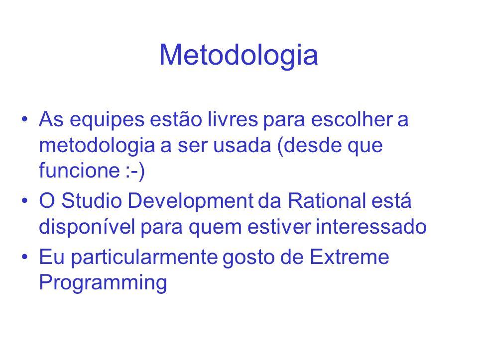 Metodologia As equipes estão livres para escolher a metodologia a ser usada (desde que funcione :-) O Studio Development da Rational está disponível para quem estiver interessado Eu particularmente gosto de Extreme Programming