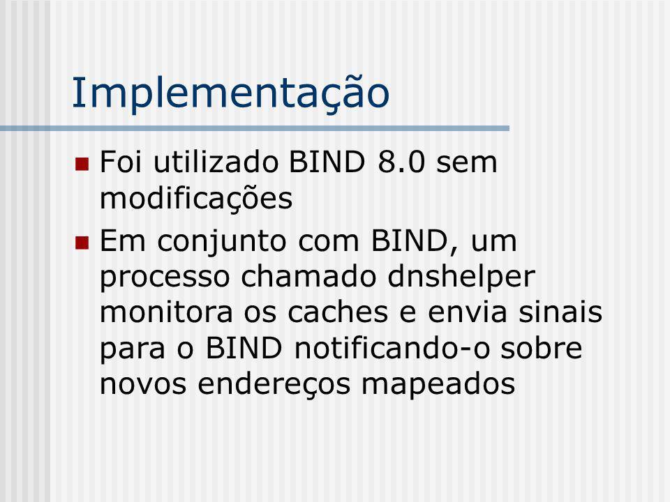 Implementação Foi utilizado BIND 8.0 sem modificações Em conjunto com BIND, um processo chamado dnshelper monitora os caches e envia sinais para o BIND notificando-o sobre novos endereços mapeados