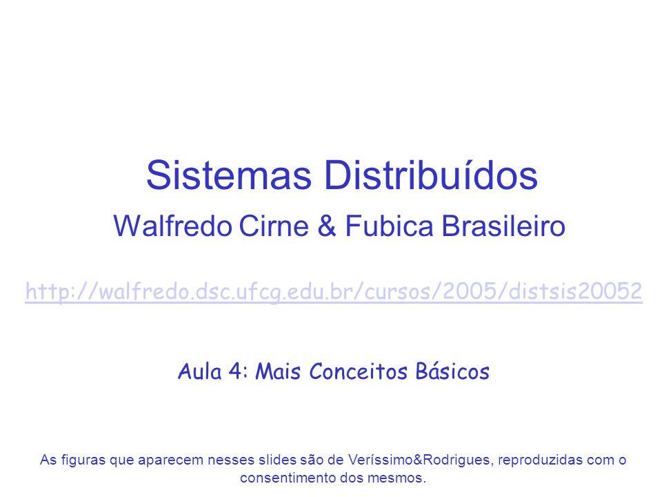Sistemas Distribuídos Walfredo Cirne & Fubica Brasileiro http://walfredo.dsc.ufcg.edu.br/cursos/2005/distsis20052 Aula 4: Mais Conceitos Básicos As fi