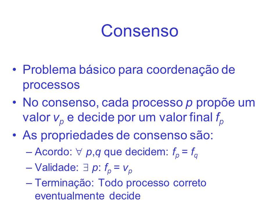 Consenso Problema básico para coordenação de processos No consenso, cada processo p propõe um valor v p e decide por um valor final f p As propriedade