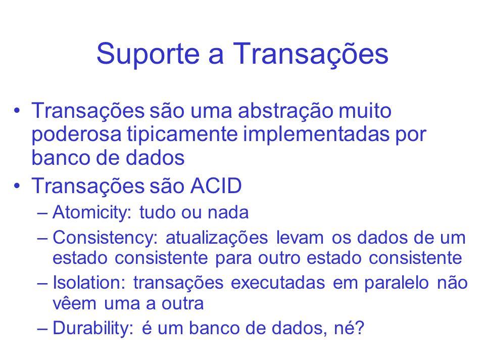 Suporte a Transações Transações são uma abstração muito poderosa tipicamente implementadas por banco de dados Transações são ACID –Atomicity: tudo ou