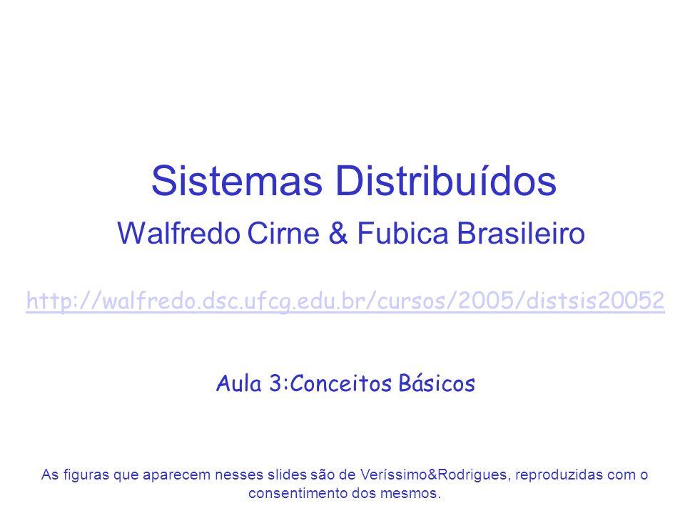 Sistemas Distribuídos Walfredo Cirne & Fubica Brasileiro http://walfredo.dsc.ufcg.edu.br/cursos/2005/distsis20052 Aula 3:Conceitos Básicos As figuras que aparecem nesses slides são de Veríssimo&Rodrigues, reproduzidas com o consentimento dos mesmos.