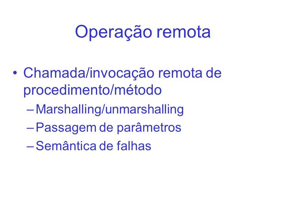 Operação remota Chamada/invocação remota de procedimento/método –Marshalling/unmarshalling –Passagem de parâmetros –Semântica de falhas