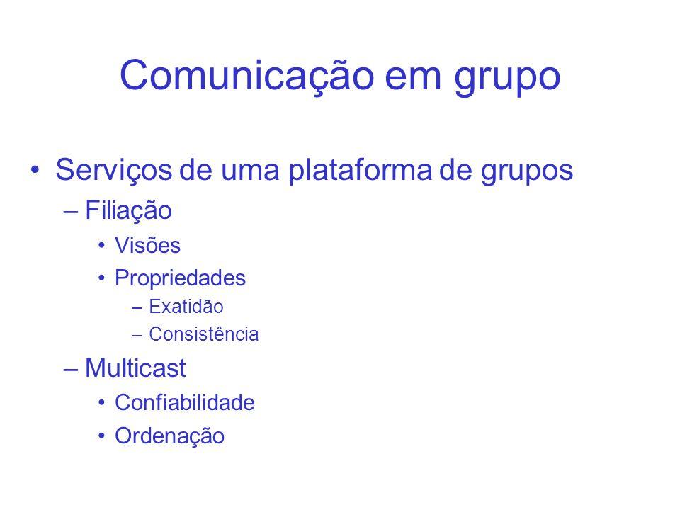 Comunicação em grupo Serviços de uma plataforma de grupos –Filiação Visões Propriedades –Exatidão –Consistência –Multicast Confiabilidade Ordenação