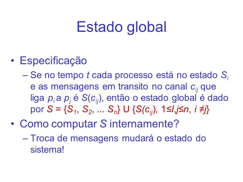 Estado global Especificação –Se no tempo t cada processo está no estado S i e as mensagens em transito no canal c ij que liga p i a p j é S(c ij ), então o estado global é dado por S = {S 1, S 2,...
