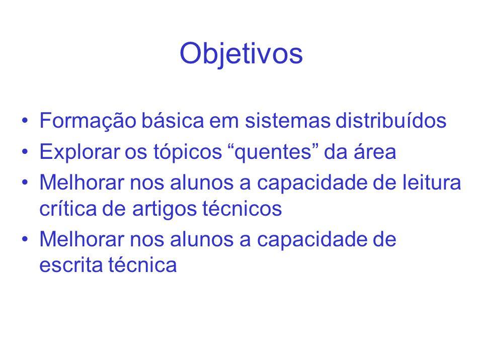 Objetivos Formação básica em sistemas distribuídos Explorar os tópicos quentes da área Melhorar nos alunos a capacidade de leitura crítica de artigos