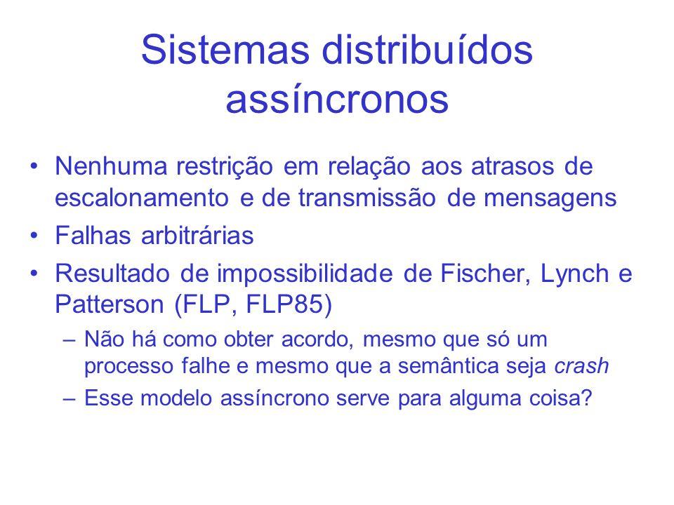 Sistemas distribuídos assíncronos Nenhuma restrição em relação aos atrasos de escalonamento e de transmissão de mensagens Falhas arbitrárias Resultado de impossibilidade de Fischer, Lynch e Patterson (FLP, FLP85) –Não há como obter acordo, mesmo que só um processo falhe e mesmo que a semântica seja crash –Esse modelo assíncrono serve para alguma coisa