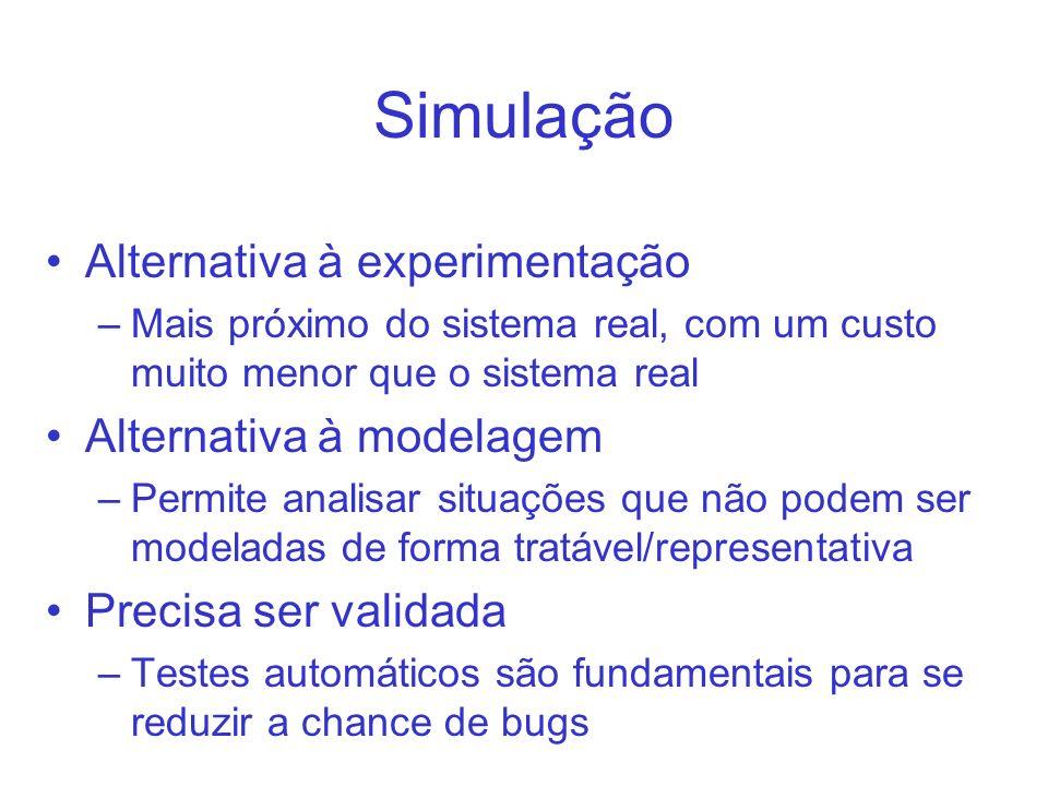 Simulação Alternativa à experimentação –Mais próximo do sistema real, com um custo muito menor que o sistema real Alternativa à modelagem –Permite analisar situações que não podem ser modeladas de forma tratável/representativa Precisa ser validada –Testes automáticos são fundamentais para se reduzir a chance de bugs