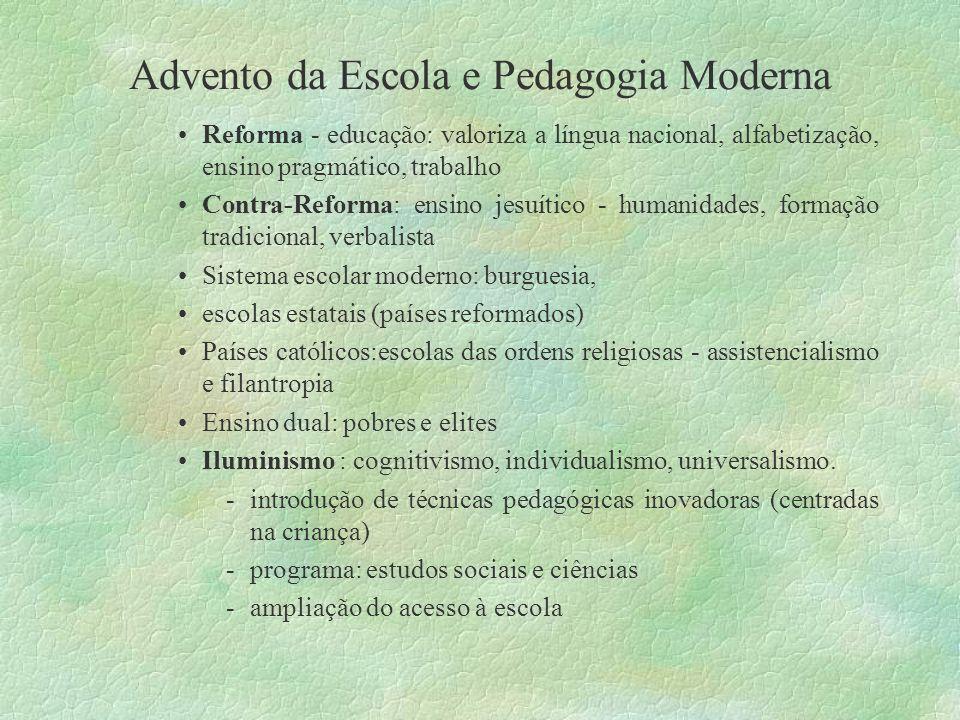 Advento da Escola e Pedagogia Moderna Reforma - educação: valoriza a língua nacional, alfabetização, ensino pragmático, trabalho Contra-Reforma: ensin