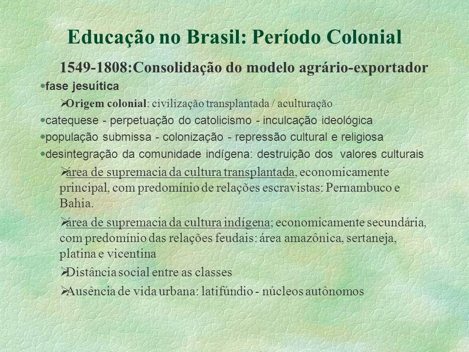 Educação no Brasil: Período Colonial 1549-1808:Consolidação do modelo agrário-exportador fase jesuítica Origem colonial: civilização transplantada / a