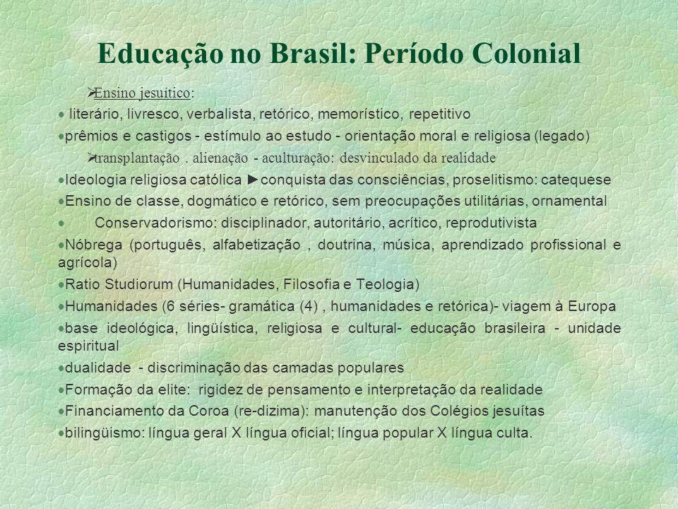 Educação no Brasil: Período Colonial Ensino jesuítico: literário, livresco, verbalista, retórico, memorístico, repetitivo prêmios e castigos - estímul
