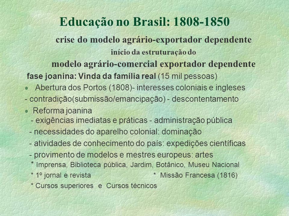 Educação no Brasil: 1808-1850 crise do modelo agrário-exportador dependente início da estruturação do modelo agrário-comercial exportador dependente f