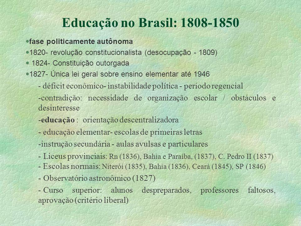 Educação no Brasil: 1808-1850 fase politicamente autônoma 1820- revolução constitucionalista (desocupação - 1809) 1824- Constituição outorgada 1827- Ú