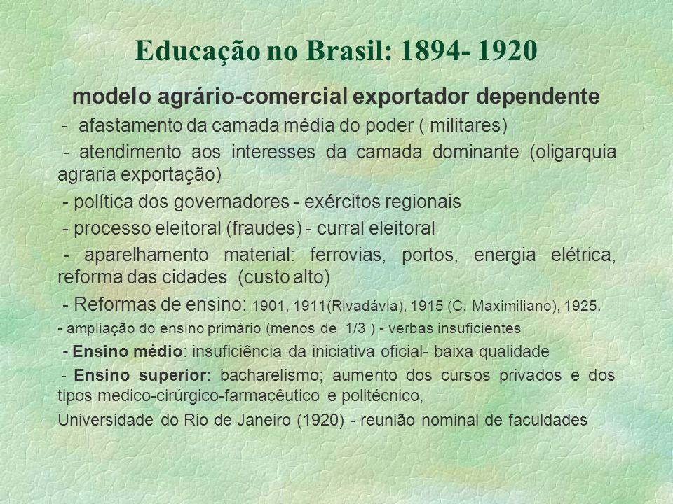 Educação no Brasil: 1894- 1920 modelo agrário-comercial exportador dependente - afastamento da camada média do poder ( militares) - atendimento aos in