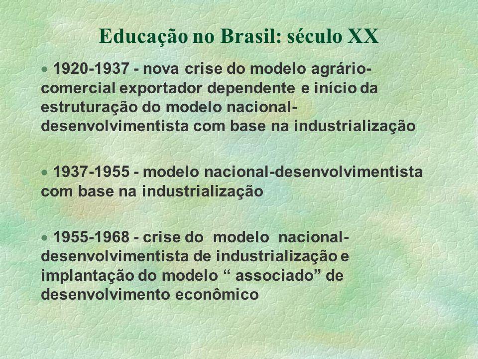 Educação no Brasil: século XX 1920-1937 - nova crise do modelo agrário- comercial exportador dependente e início da estruturação do modelo nacional- d