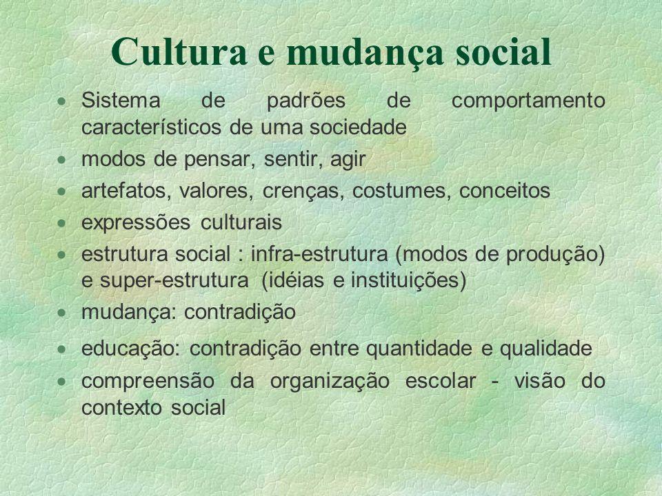 Cultura e mudança social Sistema de padrões de comportamento característicos de uma sociedade modos de pensar, sentir, agir artefatos, valores, crença