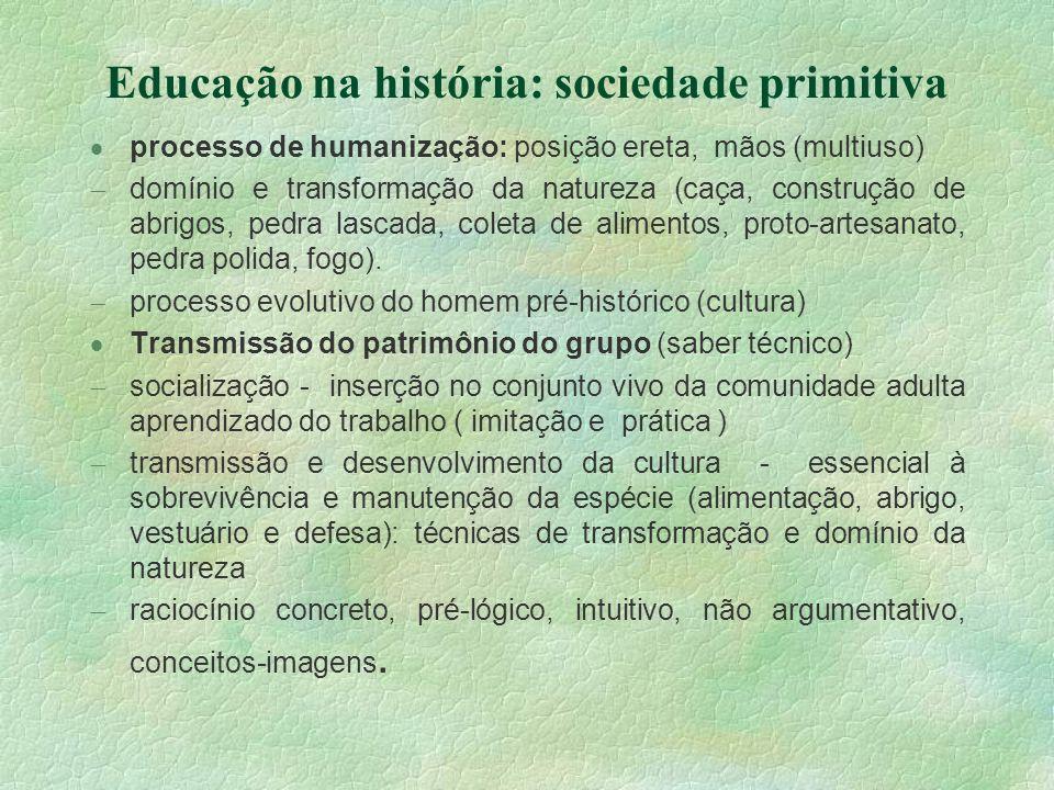 Educação na história: sociedade primitiva processo de humanização: posição ereta, mãos (multiuso) domínio e transformação da natureza (caça, construçã