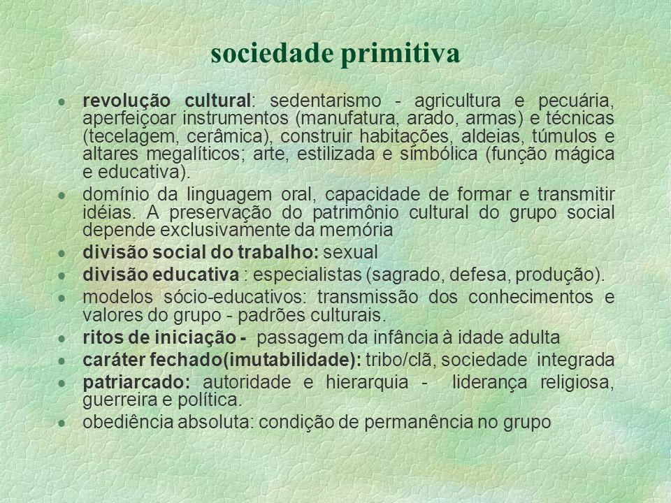 sociedade primitiva revolução cultural: sedentarismo - agricultura e pecuária, aperfeiçoar instrumentos (manufatura, arado, armas) e técnicas (tecelag