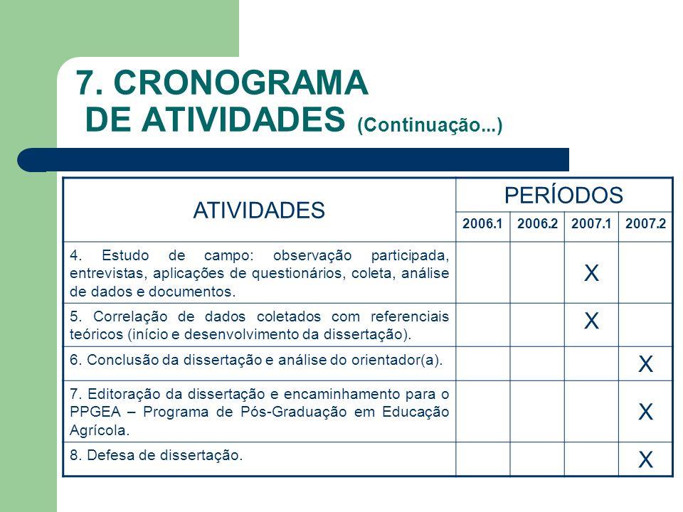 7. CRONOGRAMA DE ATIVIDADES (Continuação...) ATIVIDADES PERÍODOS 2006.12006.22007.12007.2 4. Estudo de campo: observação participada, entrevistas, apl