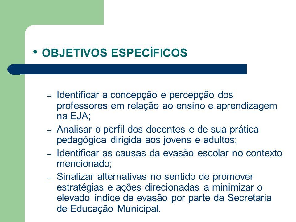 OBJETIVOS ESPECÍFICOS – Identificar a concepção e percepção dos professores em relação ao ensino e aprendizagem na EJA; – Analisar o perfil dos docent