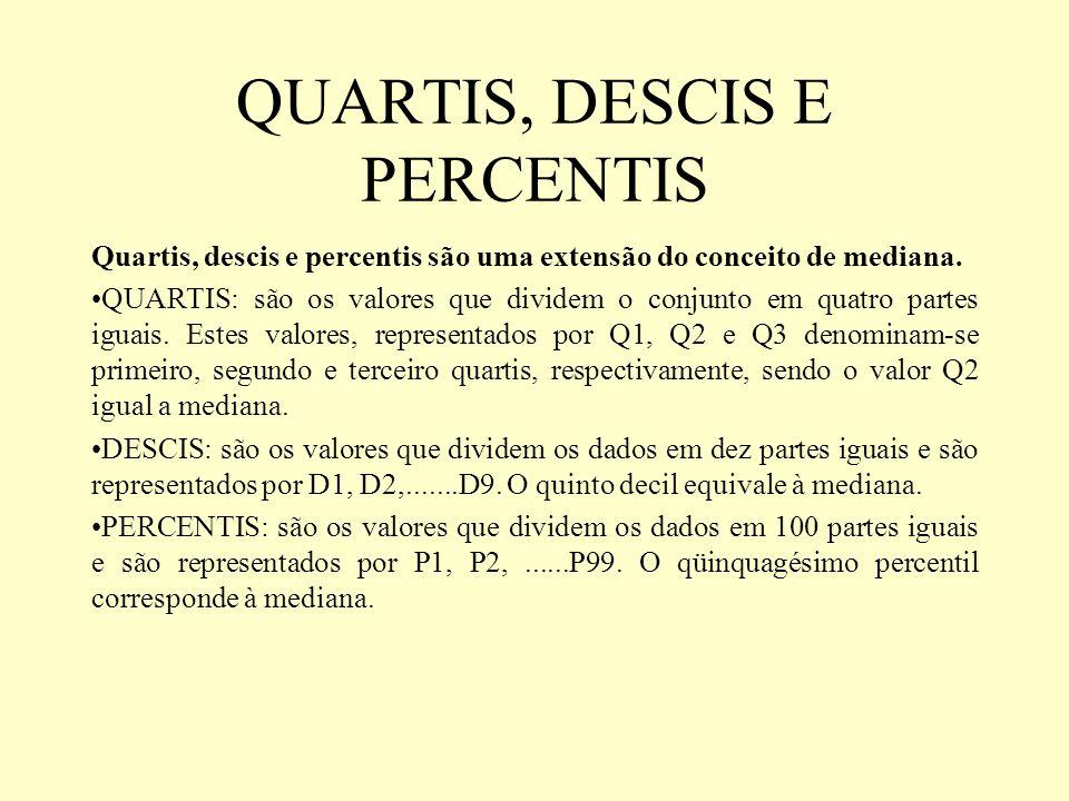 QUARTIS, DESCIS E PERCENTIS Quartis, descis e percentis são uma extensão do conceito de mediana. QUARTIS: são os valores que dividem o conjunto em qua