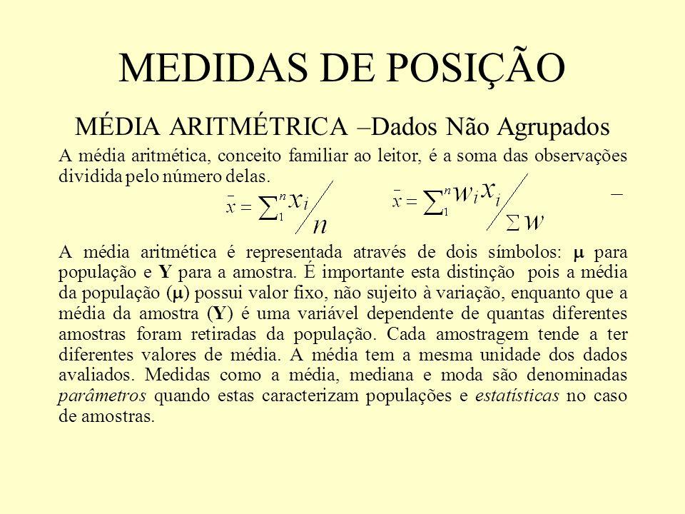 MEDIDAS DE POSIÇÃO MÉDIA ARITMÉTRICA –Dados Não Agrupados A média aritmética, conceito familiar ao leitor, é a soma das observações dividida pelo núme