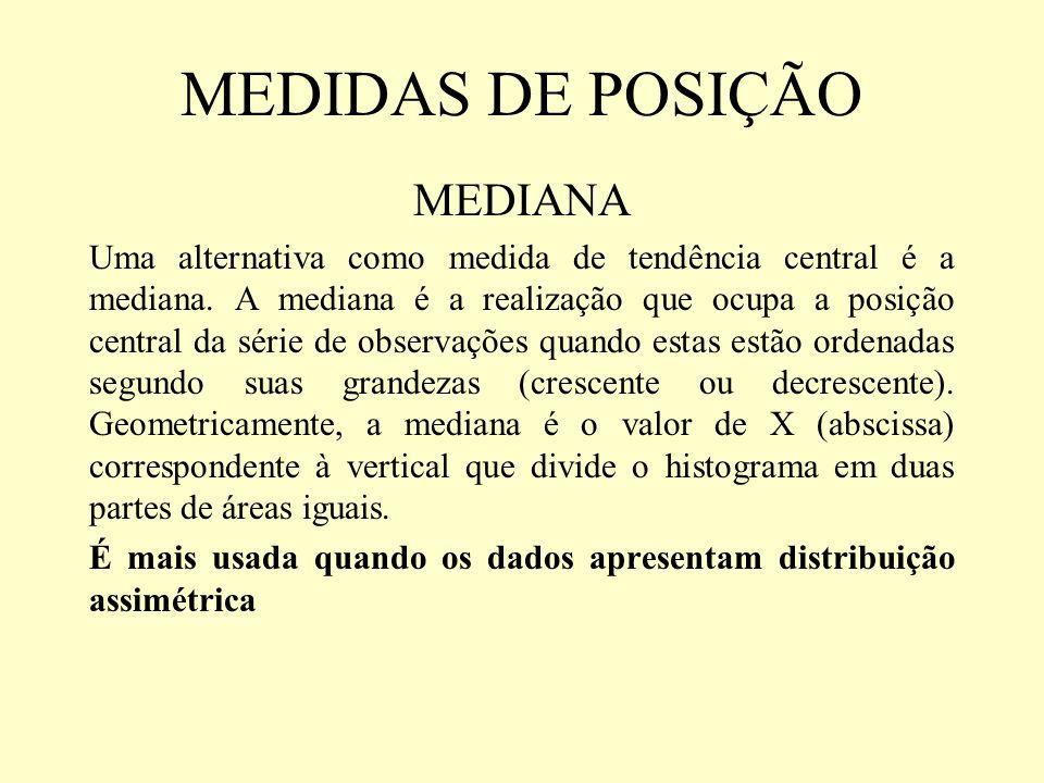 MEDIDAS DE POSIÇÃO MEDIANA Uma alternativa como medida de tendência central é a mediana. A mediana é a realização que ocupa a posição central da série