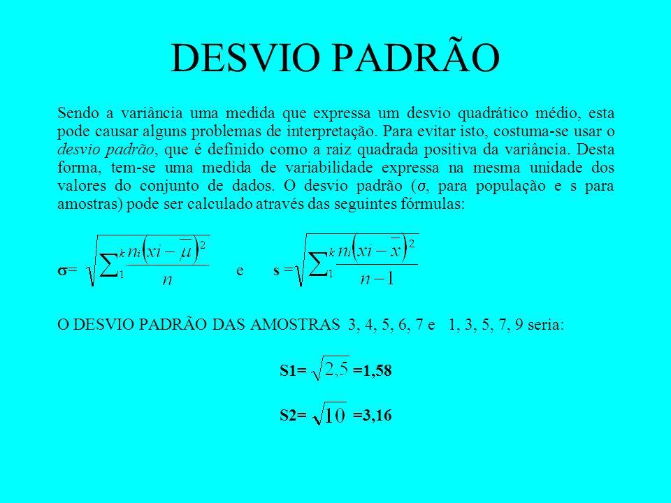 DESVIO PADRÃO Sendo a variância uma medida que expressa um desvio quadrático médio, esta pode causar alguns problemas de interpretação. Para evitar is