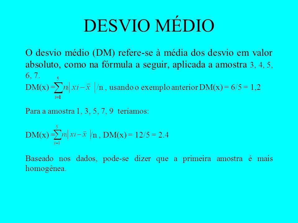 DESVIO MÉDIO O desvio médio (DM) refere-se à média dos desvio em valor absoluto, como na fórmula a seguir, aplicada a amostra 3, 4, 5, 6, 7. DM(x) = /