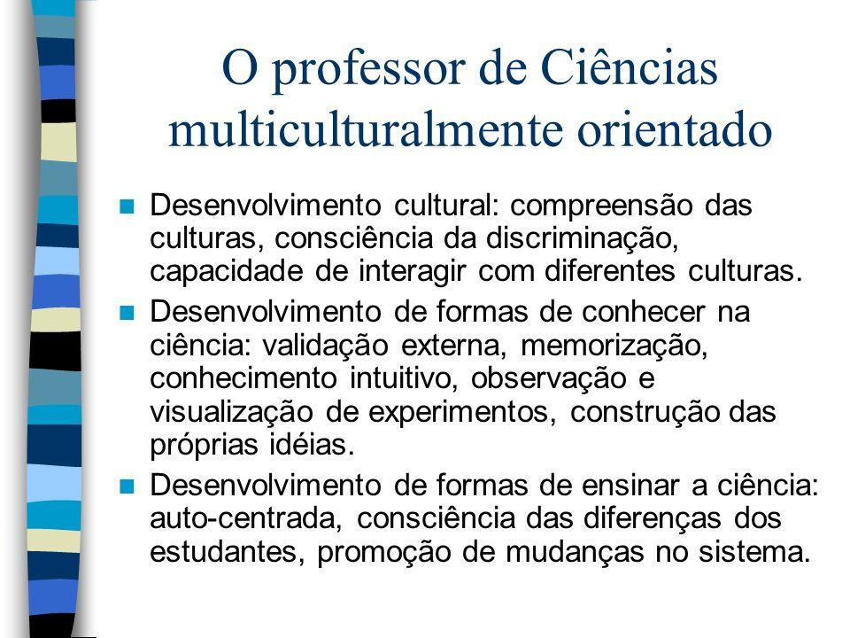 O professor de Ciências multiculturalmente orientado Desenvolvimento cultural: compreensão das culturas, consciência da discriminação, capacidade de i