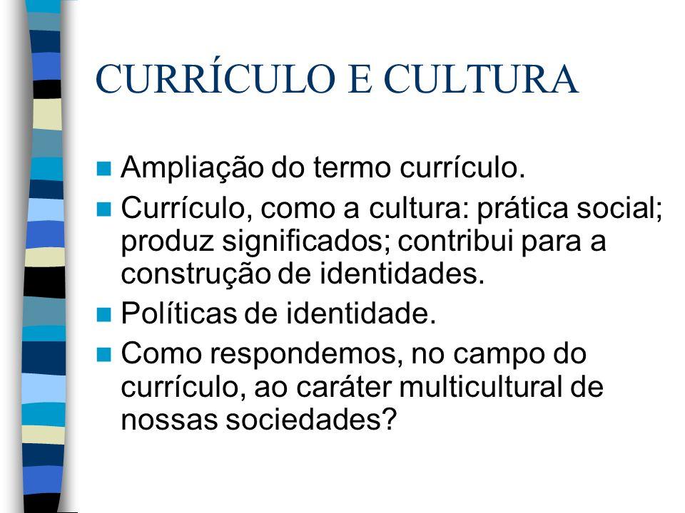 CURRÍCULO E CULTURA Ampliação do termo currículo. Currículo, como a cultura: prática social; produz significados; contribui para a construção de ident