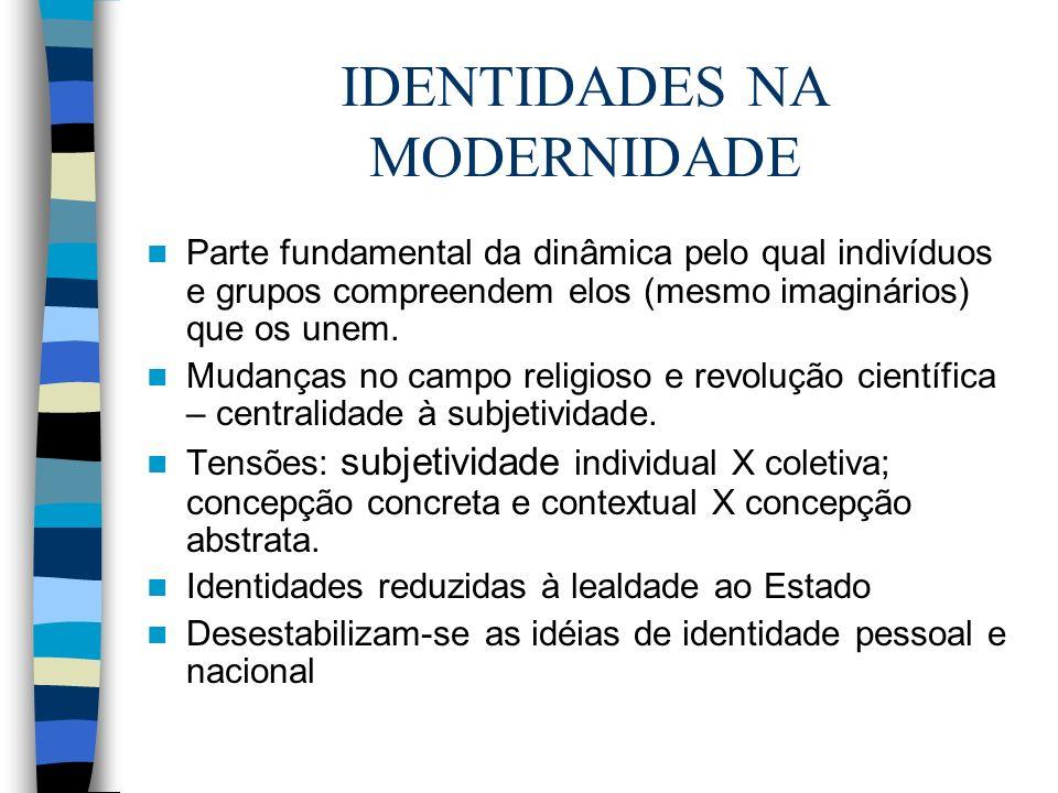 IDENTIDADES NA CONTEMPORANEIDADE Produto de uma sociedade da qual desaparece um centro produtor de identidades fixas.