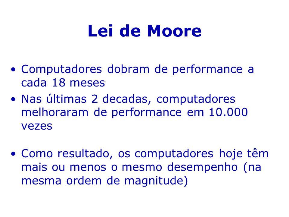 Lei de Moore Computadores dobram de performance a cada 18 meses Nas últimas 2 decadas, computadores melhoraram de performance em 10.000 vezes Como res